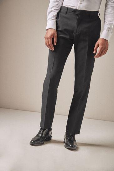 Black Tailored Fit Machine Washable Plain Front Trousers