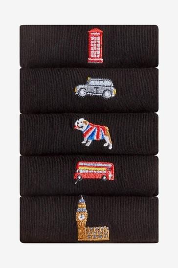 Black London 5 Pack Embroidered Socks