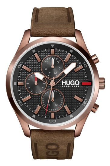 HUGO Chase Leather Strap Watch