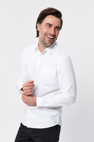 M&Co Men White Long Sleeve Oxford Shirt