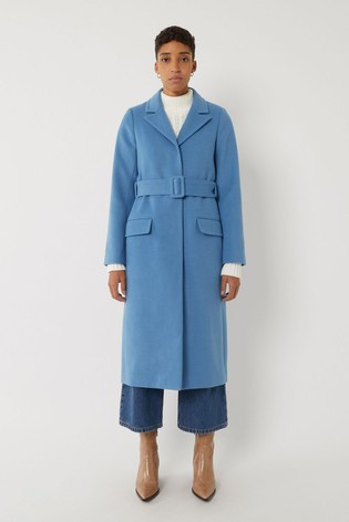 Warehouse Blue Long Belted Coat