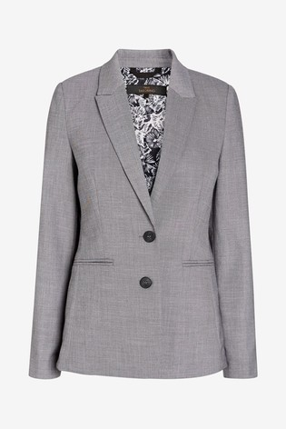 Grey Sharkskin Texture Tailored Jacket