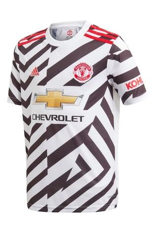 adidas White Manchester United Third 20/21 Football Shirt