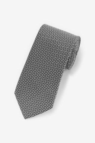 Grey Geometric Pattern Tie
