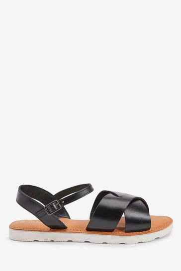 Black Extra Wide Fit Forever Comfort® Leather Sporty Sole Sandals
