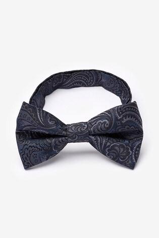 Navy/Grey Paisley Bow Tie