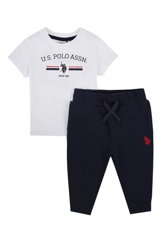 U.S. Polo Assn. White Stripe Rider T-Shirt And Joggers Set