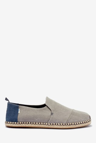 TOMS Grey Washed Canvas Espadrilles