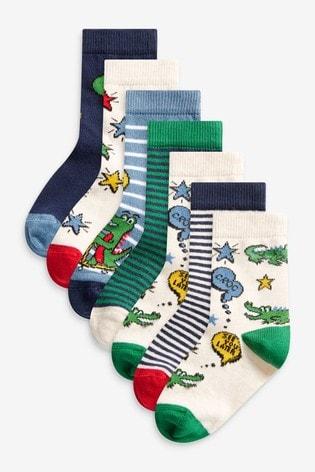 Green/Blue Croc 7 Pack Cotton Rich Socks