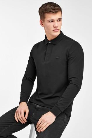 Lacoste® Black Long Sleeve Polo Shirt