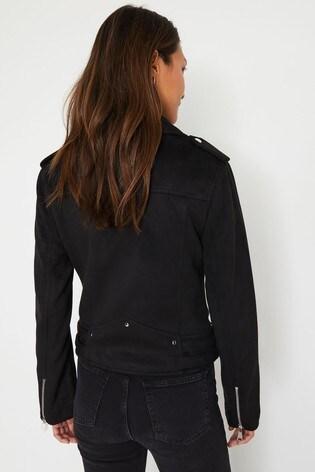 Warehouse Black Faux Suede Biker Jacket