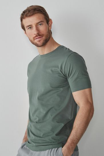 Dusky Green Slim Fit Crew Neck T-Shirt