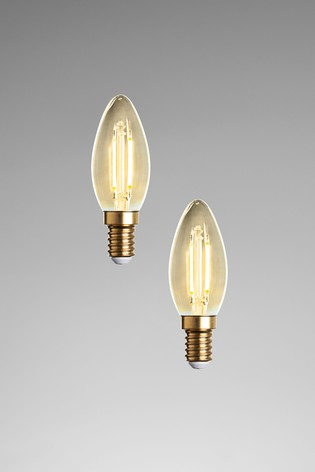 2 Pack 2W LED SES Retro Candle Bulbs