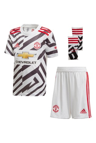adidas White Manchester United Third 20/21 Mini Kit