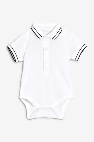White Poloshirt Bodysuit (0mths-2yrs)
