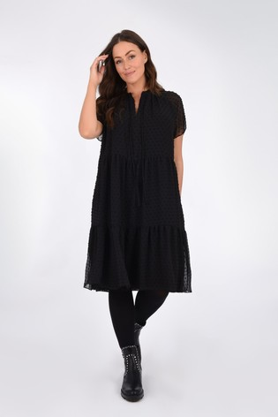 Live Unlimited Black Dobby Tiered Dress