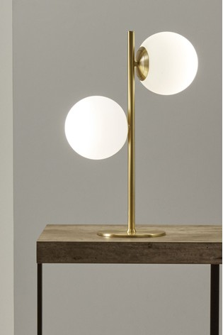 Leo White Orb and Gold Metal Table Lamp by Pacific