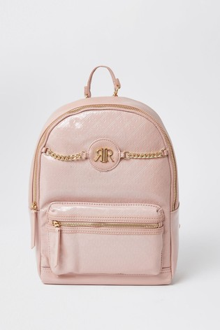 River Island Light Pink Patent Monogram Chain Backpack