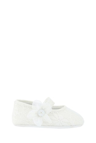 Monsoon Baby Tiana Shimmer Lace Corsage Booties