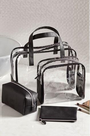 Set of 4 Black Cosmetics Bags
