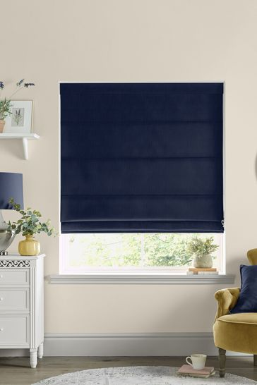 Laura Ashley Blue Swanson Midnight Made to Measure Roman Blind