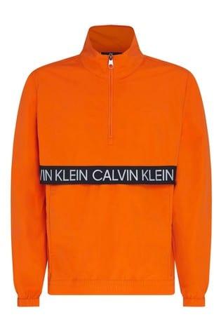 Calvin Klein Orange Active Icon 1/4 Zip Wind Jacket