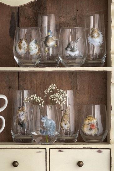 Set of 4 Royal Worcester Wrendale Tumbler Glasses