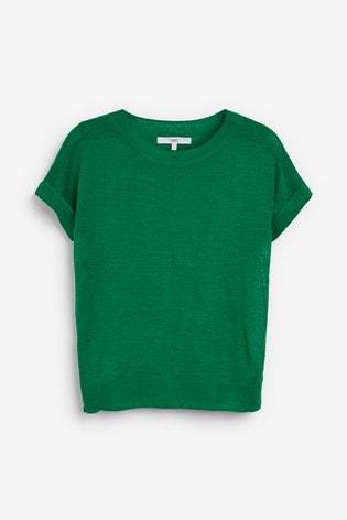 Green Linen Blend T-Shirt