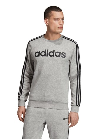 adidas Essentials Grey 3 Stripe Fleece Crew Sweater