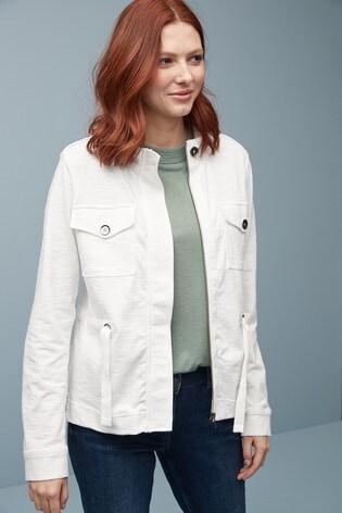 White Cropped Utility Jacket