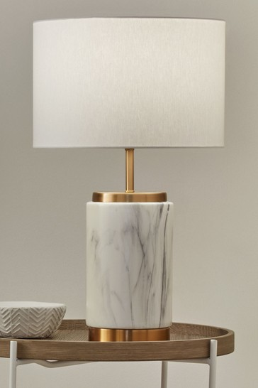 Carrara Marble Effect Ceramic Table Lamp by Pacific