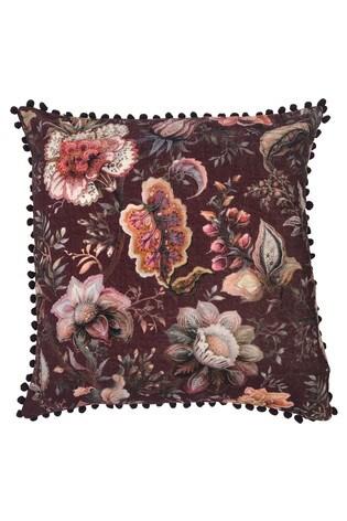 Riva Home Purple Oolong Floral Pom Pom Cushion