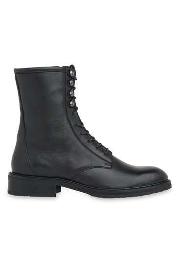 Whistles Black Clean Lace-Up Boots