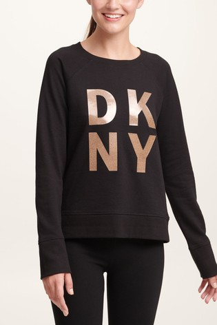 DKNY Black Foil Stacked Logo Sweat Top