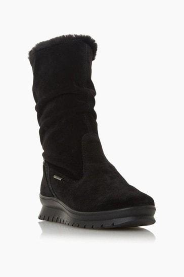 Dune London Black Suede Water Resistant Faux Fur Boots