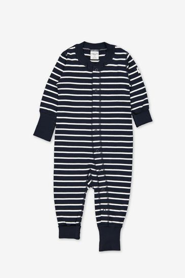 Polarn O. Pyret Blue Organic Cotton Striped All-In-One