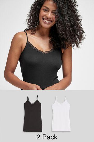 Black/White Lace Trim Cotton Blend Longline Vests Two Pack