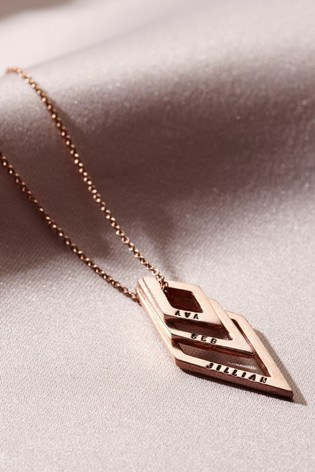 Personalised Family Names Geometric Necklace by Posh Totty Designs