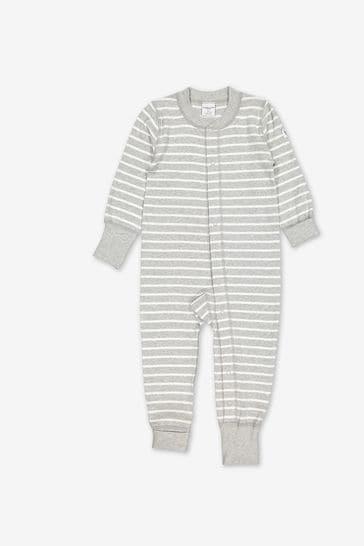 Polarn O. Pyret Grey Organic Cotton Striped Sleepsuit