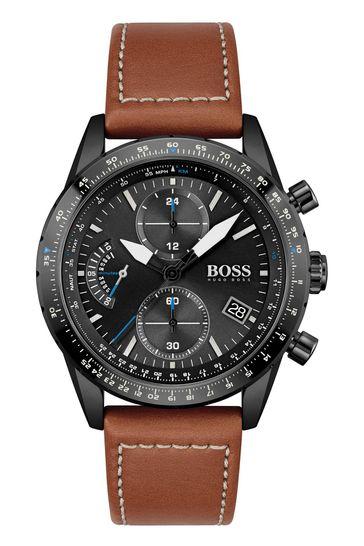 BOSS Pilot Edition Chrono Leather Strap Watch