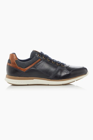 Dune London Thymes Navy Leather Trainers