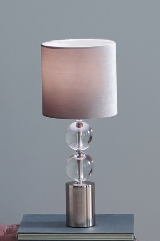 Harris Clear Brushed Silver and Clear Glass Table Lamp by Pacific