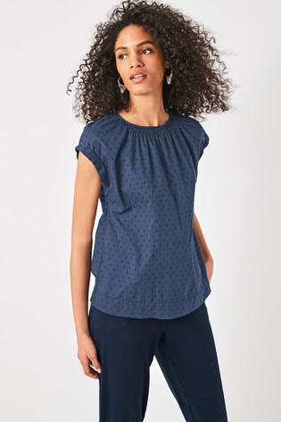 Navy Cap Sleeve Textured Top