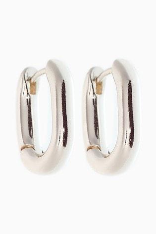 Silver Tone Mini Hinge Hoop Earrings