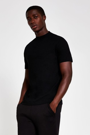River Island Black Slim High Neck T-Shirt