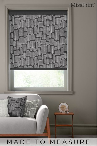 Little Trees Charcoal Black Made To Measure Roller Blind by MissPrint