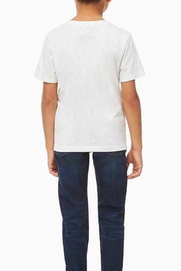 Calvin Klein White Jeans Monogram Logo T-Shirt