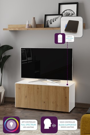 Frank Olsen Smart LED White and Oak Medium TV Unit