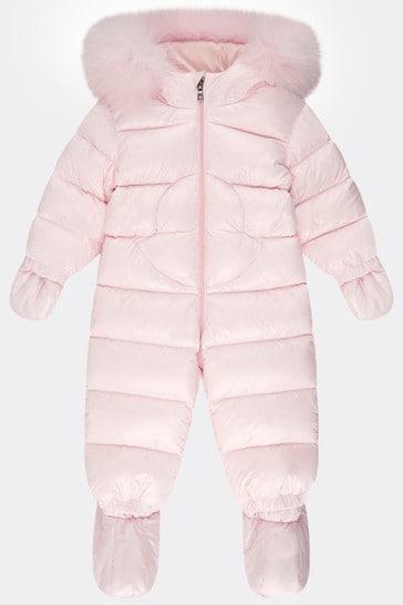 Baby Girls Light Pink Down Padded Snowsuit