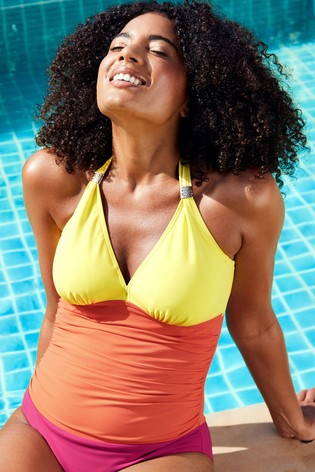 Figleaves Yellow Colourblock Underwired Tummy Control Swimsuit